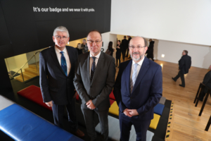 Jim Miley, Director General IUA, EU Commissioner for Education, Tibor Navracsics, Prof Brian MacCraith President of DCU and Chair of IUA