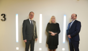 EU Commissioner for Education, Tibor Navracsics, Minister of State for Higher Education Mary Mitchell O'Connor, Prof Brian MacCraith President of DCU and Chair of IUA