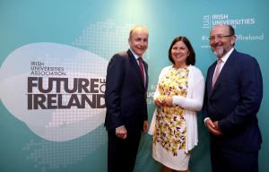 Leader of Fianna Fáil Micheál Martin with Dr Lisa Keating, Director of Research and Innovation at IUA and Prof. Brian MacCraith, Chair of IUA and President of DCU.