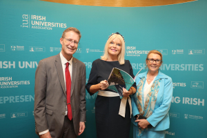 Minister of State for Higher Education Mary Mitchell O'Connor with John Cox and Anne Scott of NUI Galway