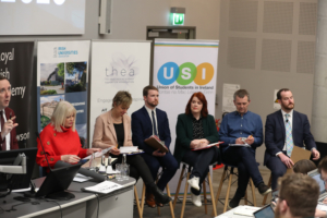 Pictured. Shane Coleman, Presenter of Newstalk Breakfast, Minister for Higher Education Mary Mitchell O'Connor-Fine Gael, Senator Ivana Bacik- Labour, Deputy Donnchadh O'Laoghaire- Sinn Fein, Cllr Neasa Hourigan- Green Party, Deputy Richard Boyd Barrett- People Before Profit, Mr Aengus O'Maoláin- Social Democrats. Picture by Jason Clarke.