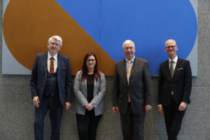 Pictured were. Jim Miley, Director General, Irish Universities Association (IUA), Lorna Fitzpatrick, President, The Union of Students in Ireland (USI), Dr Joseph Ryan, CEO Technological Higher Education Association (THEA), Peter Kennedy, Royal Irish Academy. Picture by Jason Clarke