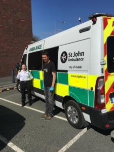 Maurice Burke, Chief Technical Officer with the DCU Nano Research Centre , and DCU Nursing student Aoife Howard with a consignment of PPE to St John Ambulance