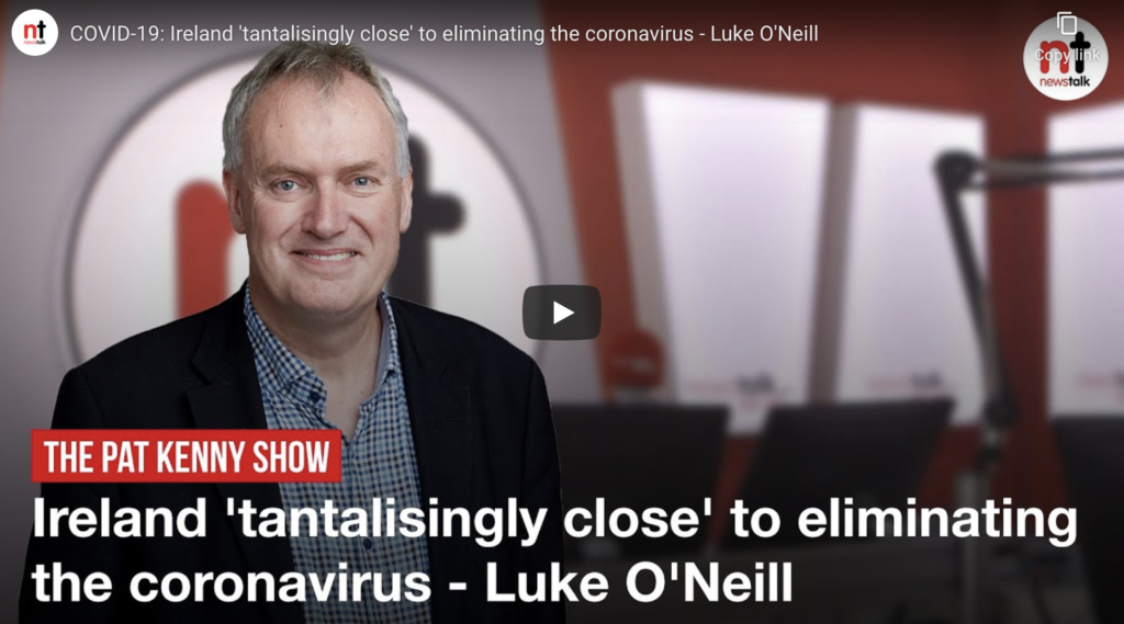 Ireland 'tantalisingly close' to eliminating the coronavirus – Luke O'Neill