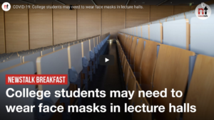 LISTEN: College students may need to wear face masks in lecture halls
